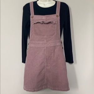 Pink corduroy overall dress size 8